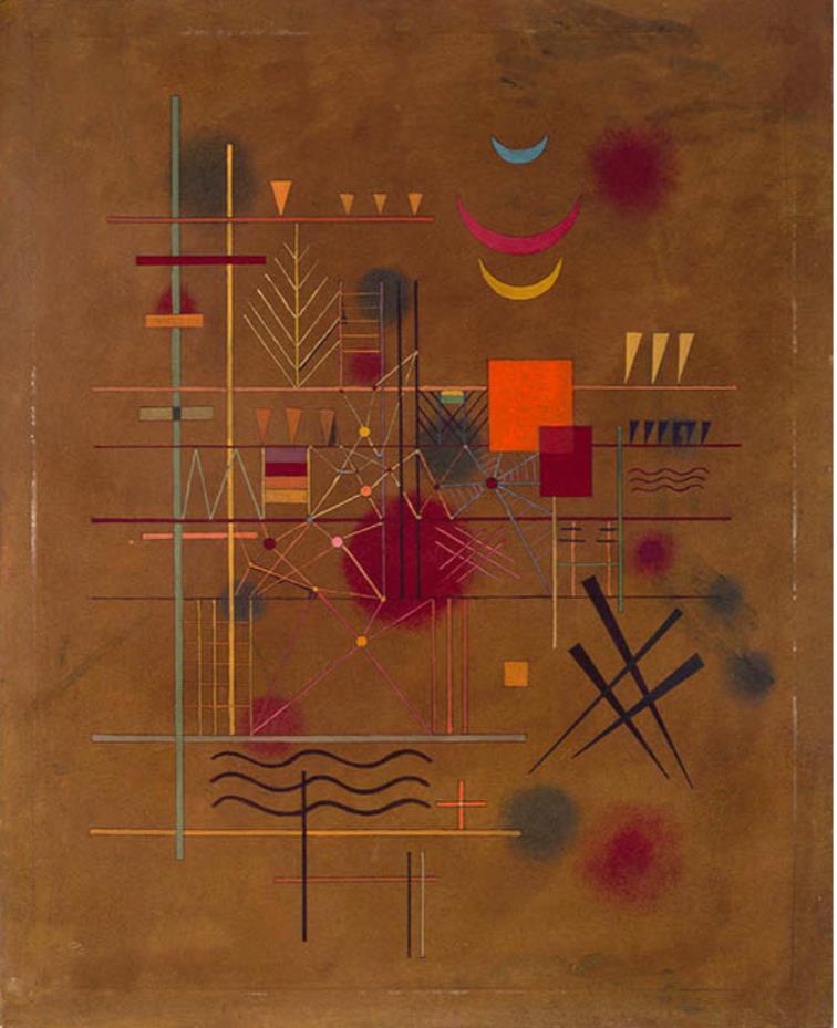 ヴァシリィ・カンディンスキー《網の中の赤》 1927年 油彩、厚紙 横浜美術館
