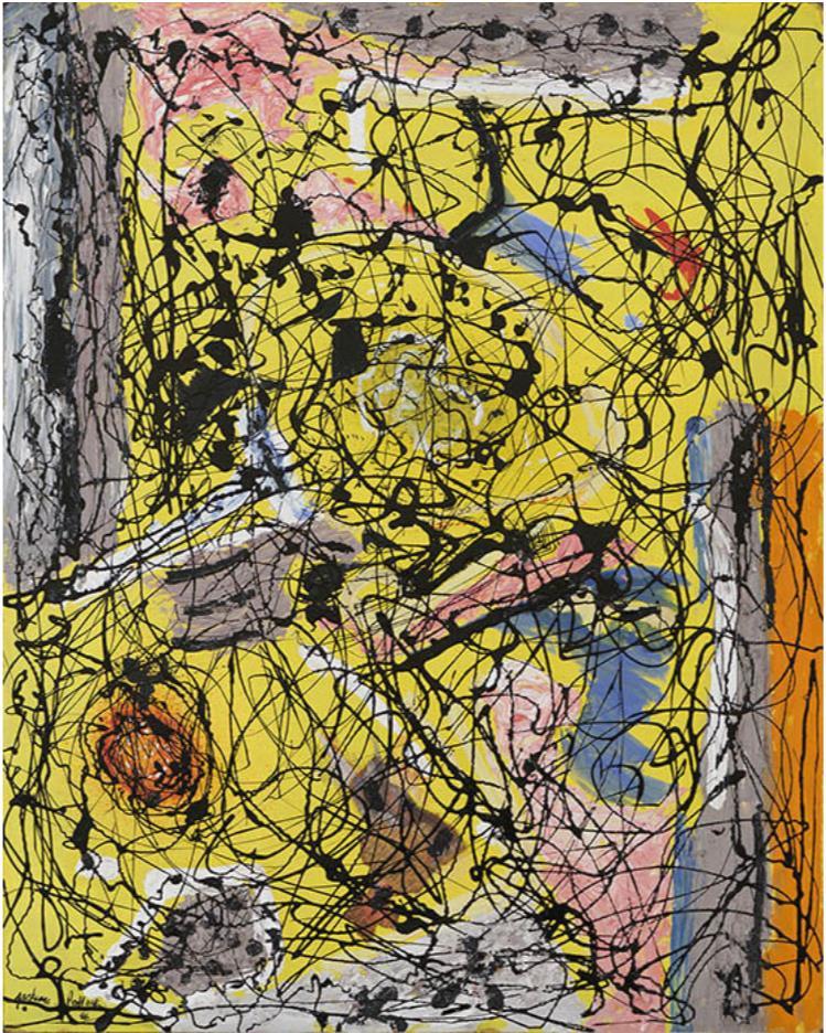 ジャクソン・ポロック《無題》 1946年 油彩・エナメル・新聞紙コラージュ、板 富山県美術館