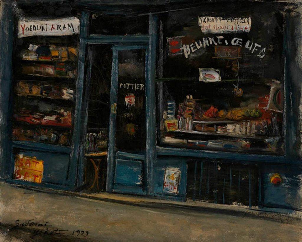 横手貞美《食料品屋店頭(14区)》1929年 長崎県美術館