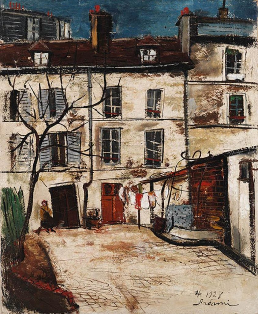 横手貞美《アトリエの中庭》1928年 長崎県美術館