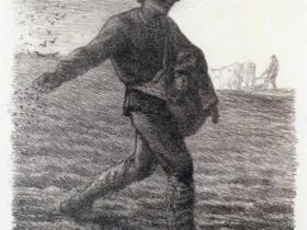 ジャン=フランソワ・ミレー 《種まく人》 1851年、リトグラフ