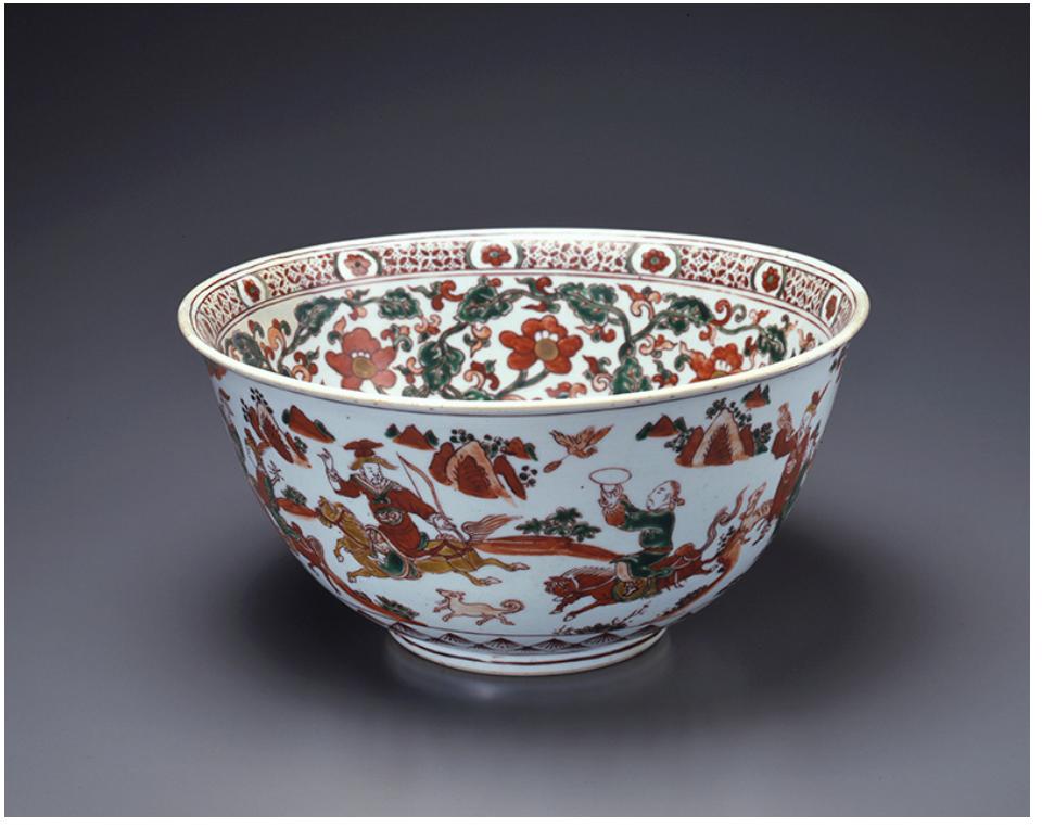 2.五彩狩猟文鉢 景徳鎮窯 中国 明時代初期 15世紀