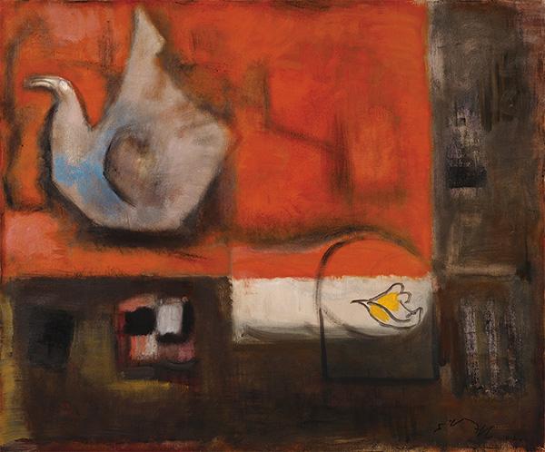 「卓上の鳥」 1997年 油彩・キャンバス