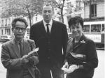 森田(左)とスーラージュ(中央)1963年、パリにて