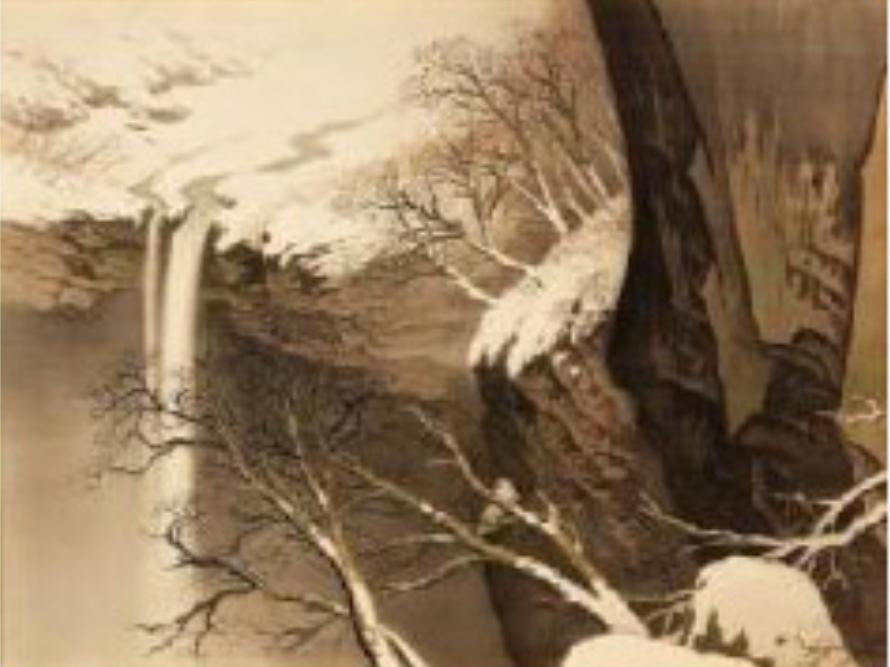 川合玉堂《宿雪》1934年 日本芸術院蔵 文化庁許可済