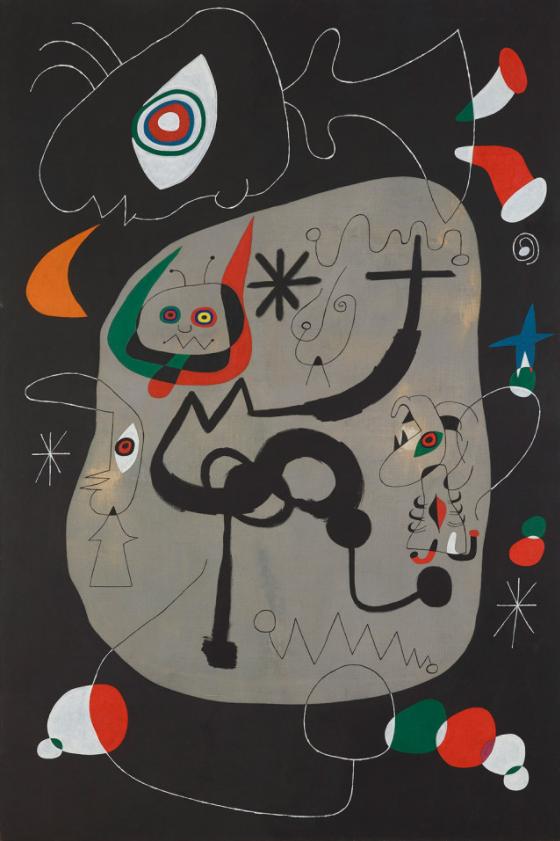 ジュアン・ミロ 《ゴシック聖堂でオルガン演奏を聞いている踊り子》 1945年 油彩/キャンバス 福岡市美術館 © Successió Miró / ADAGP, Paris & JASPAR, Tokyo, 2021 E4304