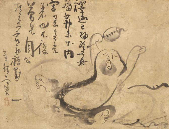 仙厓義梵《あくび布袋図》 江戸時代 19世紀