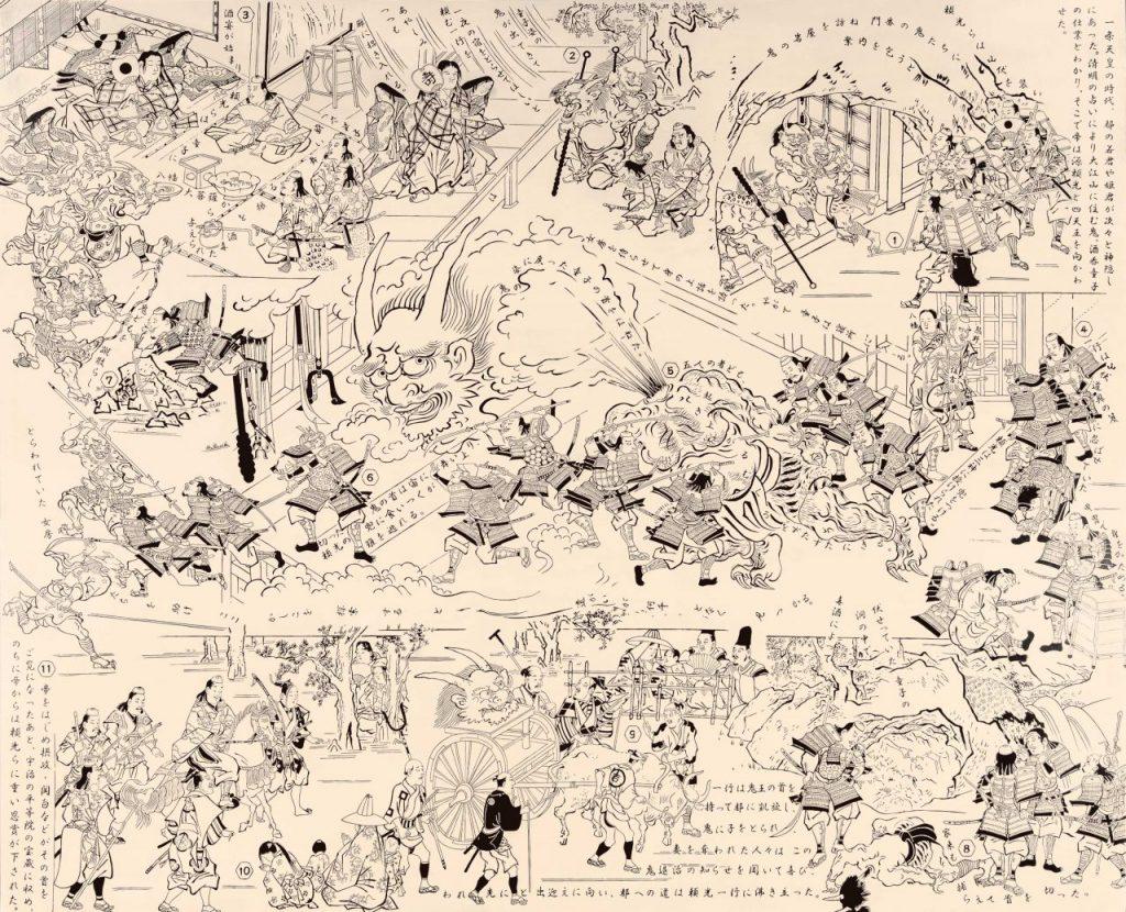 福田美蘭《大江山の酒呑童子退治》パネルにアクリル絵具 2019年