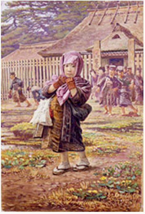 笠木治郎吉画「下校の子供たち」 明治32年(1899)頃 星野画廊蔵  女児の就学がそう多くはない時代の尋常小学校の様子を活写する絵画。「読み書き双紙」とそろばんと風呂敷包みを抱え、手袋に頭巾、足袋の姿である。笠木治郎吉は明治~大正期、外国人みやげに市井の人々を描いた画家。