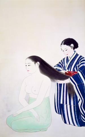 小林古径 「髪」 (重要文化財) 1931年 公益財団法人 永青文庫蔵
