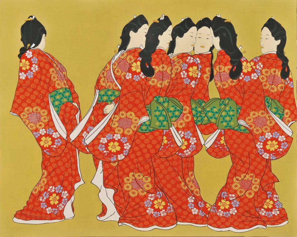 福田美蘭《見返り美人 鏡面群像図》パネルにアクリル絵具 2016年 平塚市美術館蔵