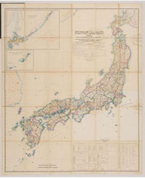 ブラントン日本図  明治9年(1876) 国立歴史民俗博物館蔵  洋式灯台の建設に貢献したお雇い外国人ブラントンが、帰国前の明治9年(1876)に編纂した日本地図。鉄道・電信線・電信用海底ケーブル・電信局などが書き込まれ、他の日本地図にはない特徴を有する。