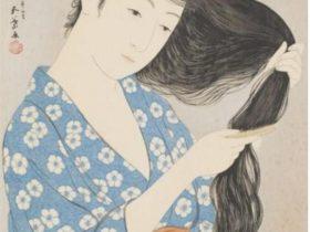 橋口五葉《髪梳ける女》1920(大正9)年  山梨県立美術館蔵
