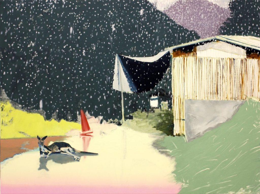 栗田咲子《白のカンガルー》2009、キャンバスに油彩、W 130.2 × H 97cm