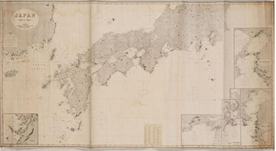 イムレイ社刊 日本南部沿海図 明治3年(1870) 国立歴史民俗博物館蔵  イギリスのイムレイ社が1870年に刊行。幕末にイギリスに渡った伊能中図により海岸線が修正されたイギリス海軍作成の海図を下敷きとする。明治初期、日本の海軍ではイギリスから近海測量・海図作成技術を学び、こうした外国製海図にしばらく依存した。