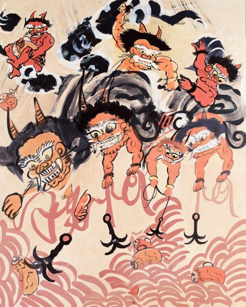 福田美蘭《大津絵―雷公》パネルにアクリル絵具 2014年 群馬県立館林美術館蔵