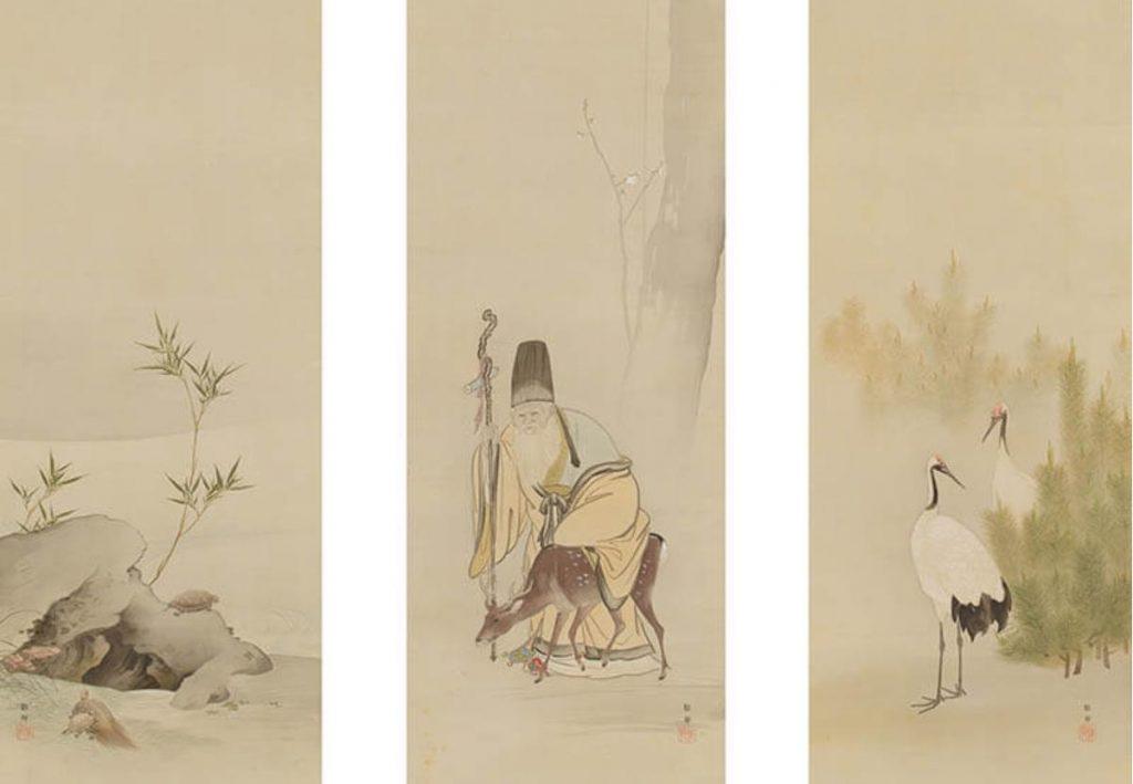 橋本雅邦「寿老人鶴亀図」明治33年 三の丸所蔵館所蔵
