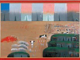 作品:《花と雲と牛 1》2000年 キャンバスに油彩