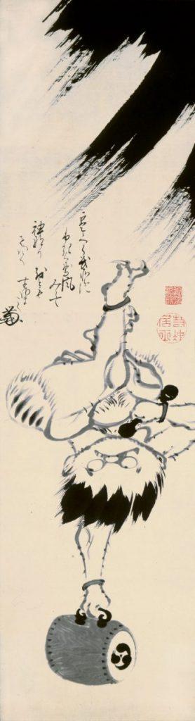 伊藤若冲《雷神図》紙本墨画 宝暦–明和期(1751-72)頃 千葉市美術館蔵