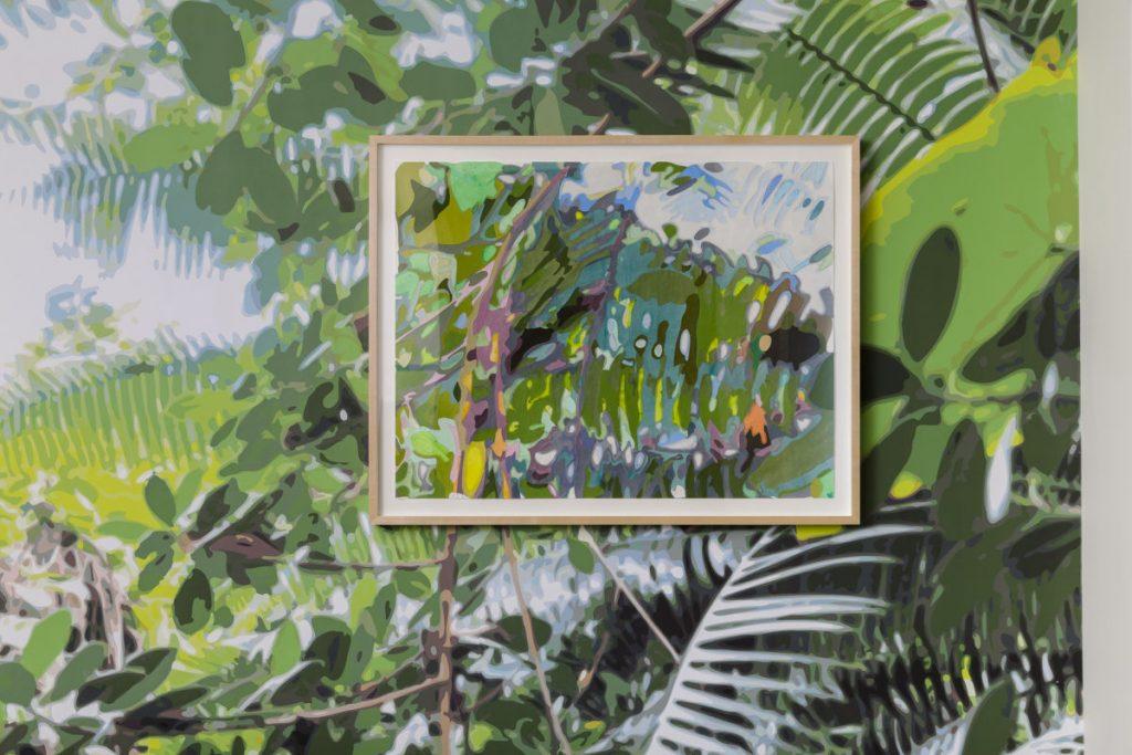 リース直美《Borrowed Landscape III (Tropics of Africa, Asia and the Amazon via Brooklyn)》(部分)2014、和紙、マイラーフィルム、アクリル、額、壁紙に顔料インク 、W 247 × H 277 cm