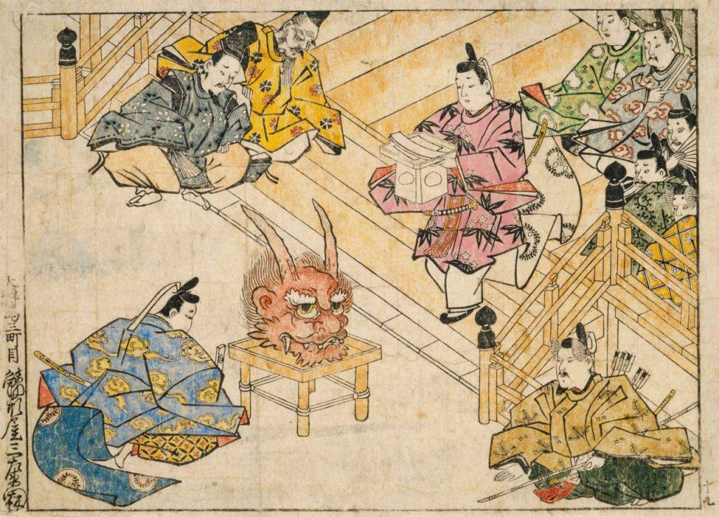 菱川師宣《酒呑童子 褒章》大判墨摺筆彩 延宝(1673-81)末期 千葉市美術館蔵