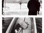 (上)桑原甲子雄「麹町区馬場先門(現・千代田区)」 1936年2月27日 (下)荒木経惟〈センチメンタルな旅〉より 1971年