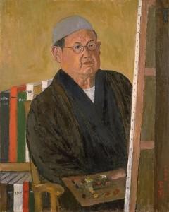 「鏡中の我」 昭和41年 油彩・キャンバス