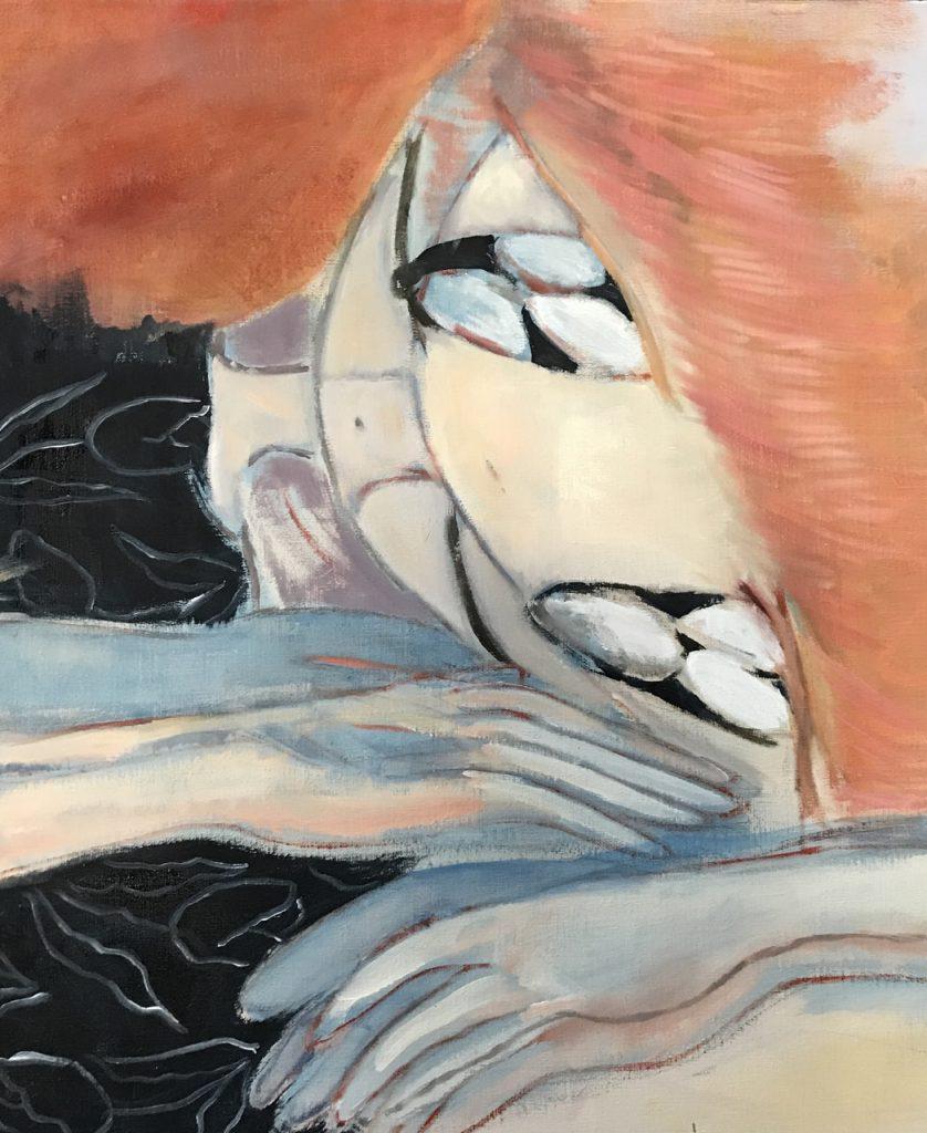 《起きた人》 2021年 キャンバスに油彩 507mm×420mm