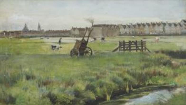 フィンセント・ファン・ゴッホ 「草地、背景に新しい教会とヤコブ教会」(1882年 水彩)