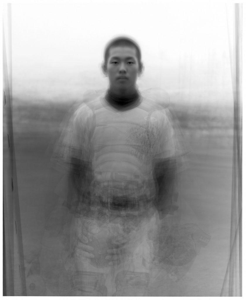 our face  近江高校野球部員42人を重ねた肖像 2002年9月12日 滋賀県 彦根市 近江高等学校グランド