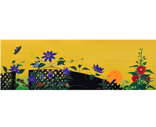 「夏草蟲図 夕」120変形、64.7×194.0cm