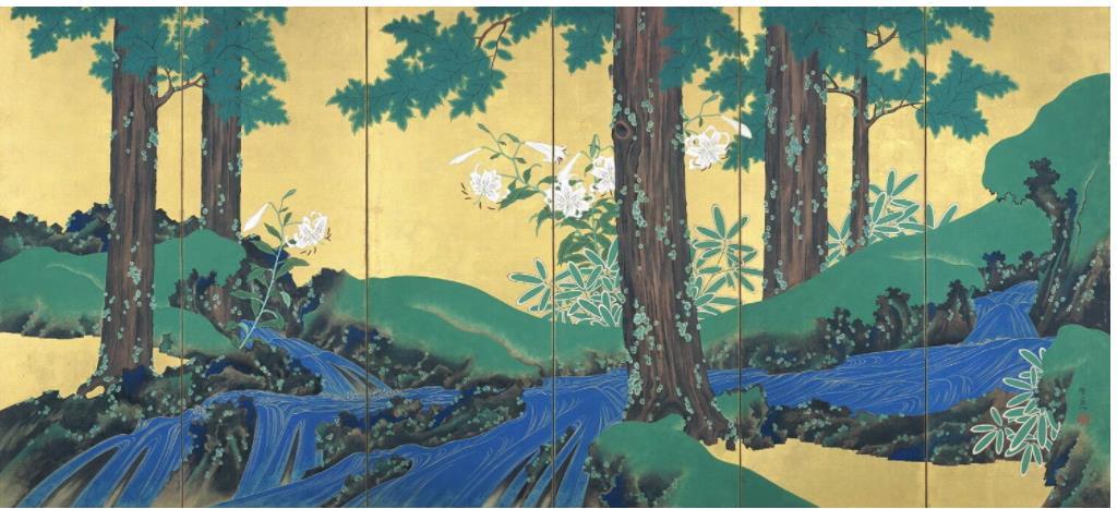 重要文化財《夏秋渓流図屏風》(右隻) 鈴木其一筆 日本・江戸時代 19世紀 根津美術館蔵