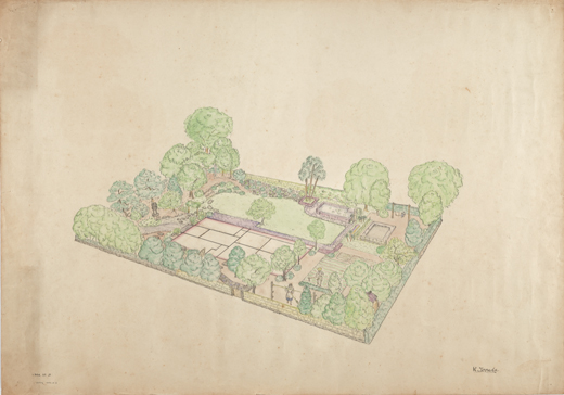 東京農業大学在学時代の寺田小太郎による庭園見取り図 1946年 個人蔵 撮影:若林亮二