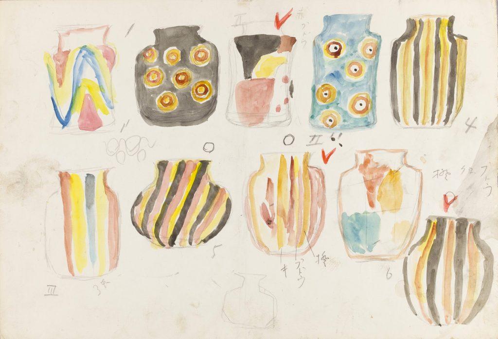 岩田藤七 ガラス作品のスケッチ 1974年頃 個人蔵(前期展示)