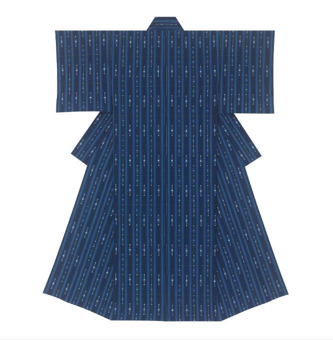 日本工芸会奨励賞  染織= 久留米絣着物「森の光・雨音」 (くるめかすりきもの「もりのひかり・あまおと」)  松枝崇弘