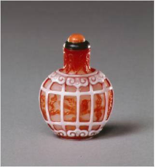 白地茶被鳥籠文鼻煙壺(中国)