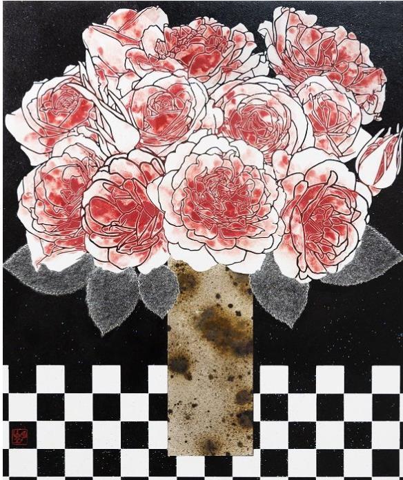 平田望 「花瓶と薔薇」 8F  岩彩