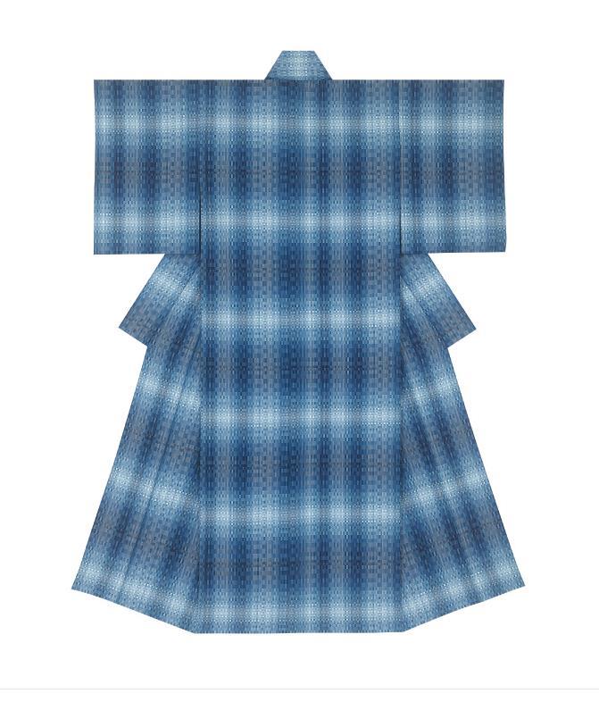 日本工芸会総裁賞  染織= 風通織木綿着物「青海」 (ふうつうおりもめんきもの「おうみ」)  小林佐智子