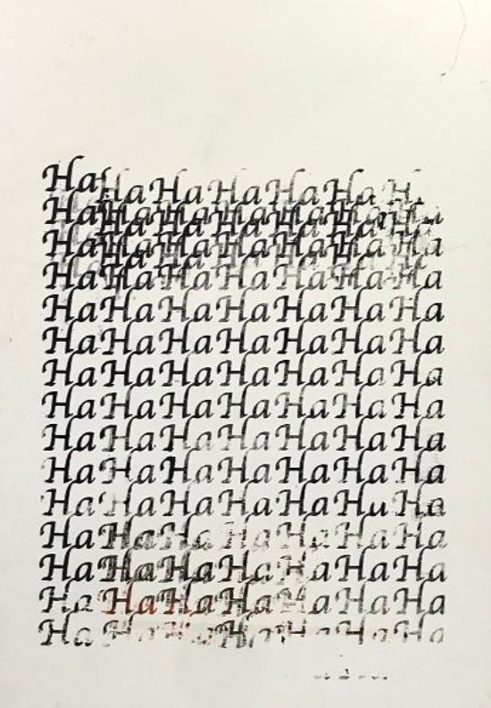 山田周平「HaHaHaHaHa」  2021年  キャンバスにシルクスクリーン  162.0 × 112.0 cm