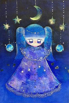 柴田紗奈 夜のかみさま 日本画 、ミクストメディア P4号