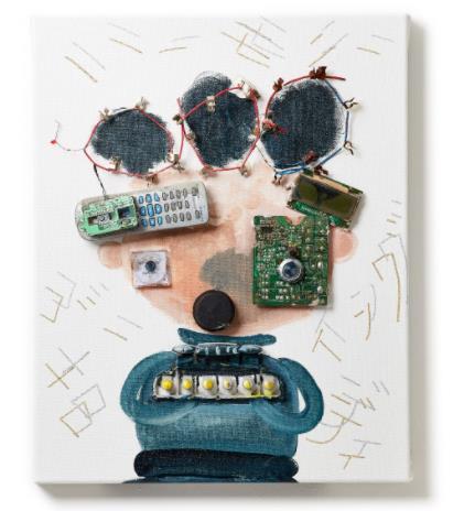「ハーモニー ゴーイング メロディ」 (Oil and E-waste on Canvas、40×50cm)