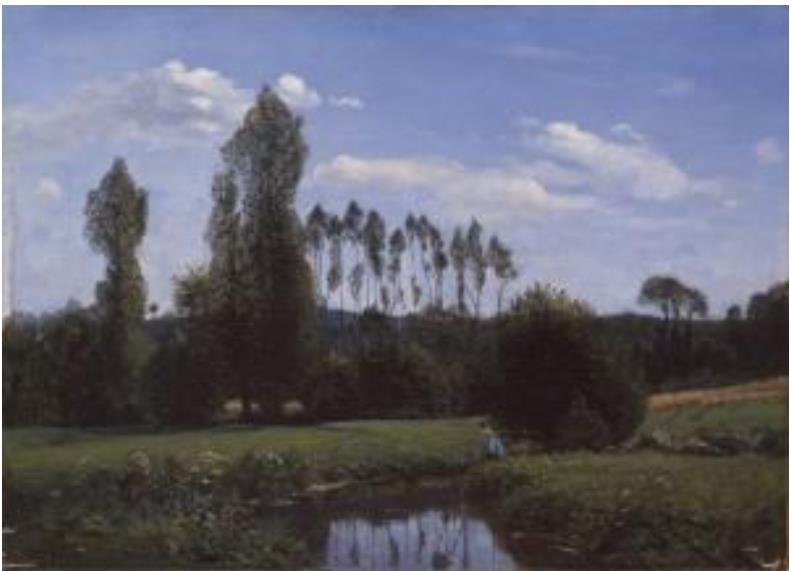 クロード・モネ 「ルエルの眺め」(1858年 油彩)