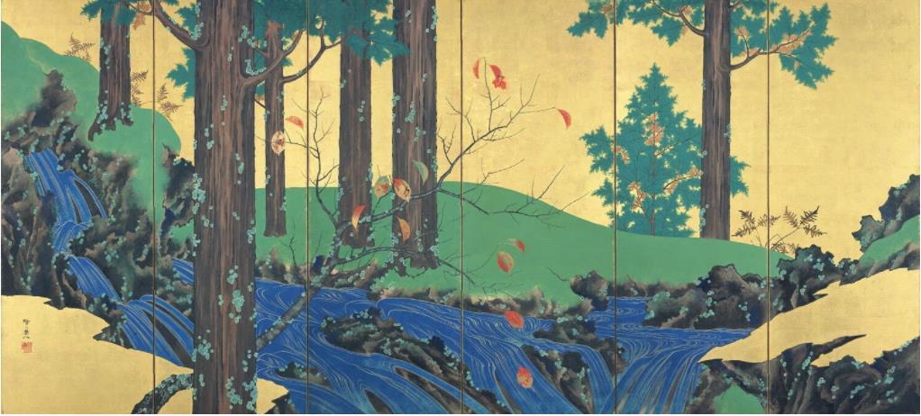 重要文化財《夏秋渓流図屏風》(左隻) 鈴木其一筆 日本・江戸時代 19世紀 根津美術館蔵