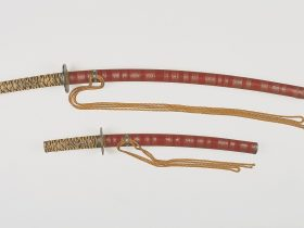 溜塗糸巻鞘大小拵 彦根城博物館