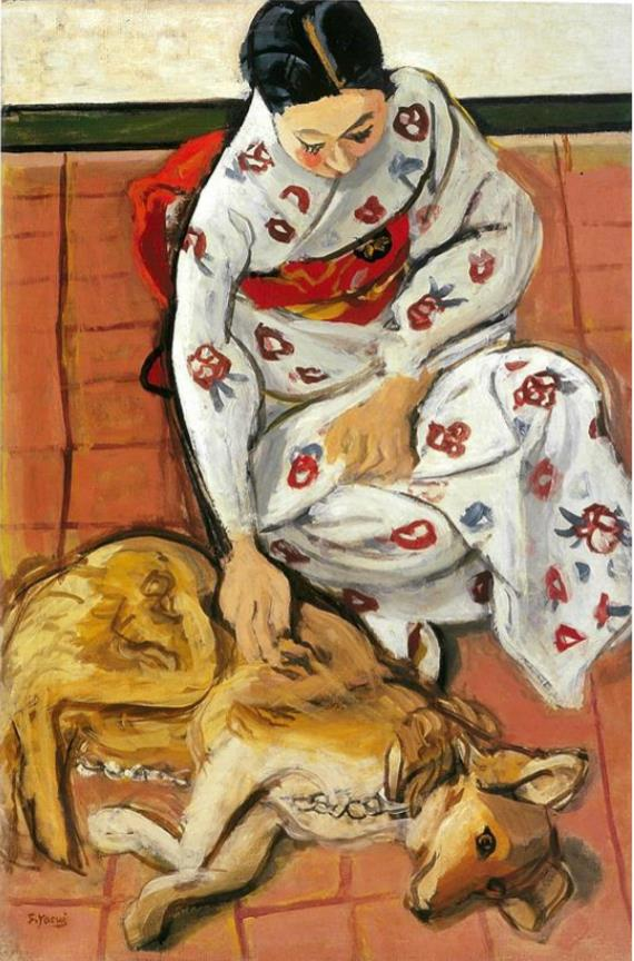 安井曽太郎《女と犬》1940 年 糖業協会蔵
