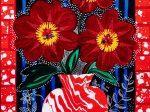 大沢愛「Peony Chocolate with Flower vase」 アクリル絵具、ミクストメディア、カンヴァス  M12号