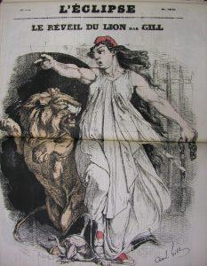 ジル 風刺画新聞「レクリプス(蝕)」1870年9月11日号《ライオンの目覚め》