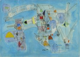 《空の祭》 水彩,インク,紙 27.0×38.0cm 1967 photo: 早川宏一