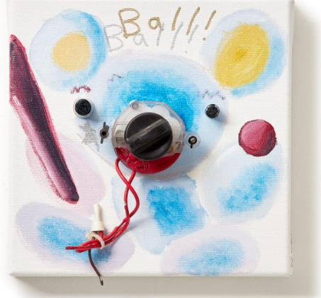 「Ball!」(Oil and E-waste on Canvas、20×20cm)