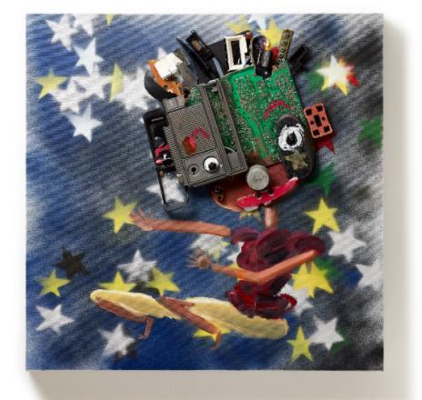 「Break dancer」 (Oil and E-waste on Canvas、60×60cm)